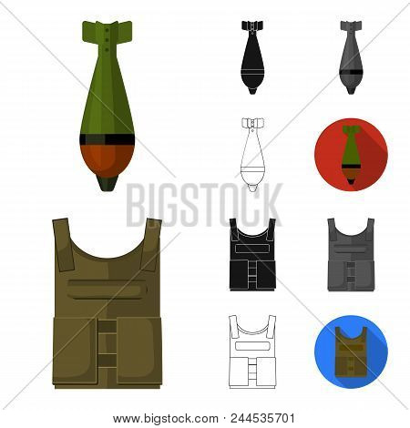 Army And Armament Cartoon, Black, Flat, Monochrome, Outline Icons In Set Collection For Design. Weap