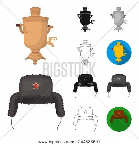 Country Russia, Travel Cartoon, Black, Flat, Monochrome, Outline Icons In Set Collection For Design.