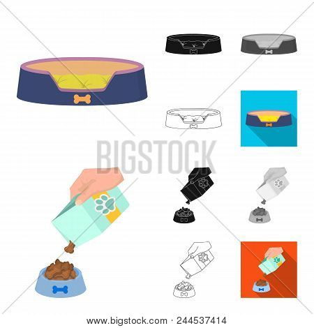 Pet Cartoon, Black, Flat, Monochrome, Outline Icons In Set Collection For Design. Care And Education