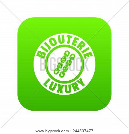 Bijouterie Luxury Icon Green Vector Isolated On White Background