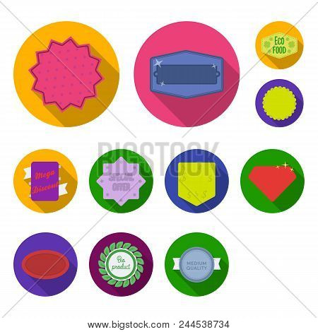 Different Label Flat Icons In Set Collection For Design. Index And Brand Vector Symbol Stock  Illust