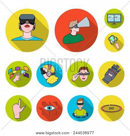 A Virtual Reality Flat Icons In Set Collection For Design. Modern Technology And Equipment Vector Sy