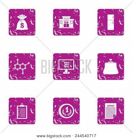 Investing In Science Icons Set. Grunge Set Of 9 Investing In Science Vector Icons For Web Isolated O