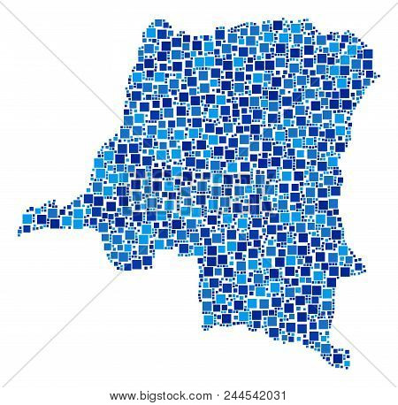 Democratic Republic Of The Congo Map Collage Of Random Dots In Different Sizes And Blue Color Tints.