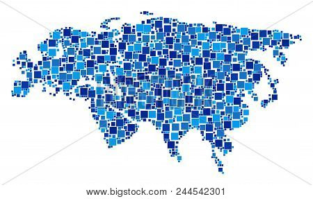 Europe And Asia Map Mosaic Of Randomized Filled Squares In Different Sizes And Blue Color Tints. Vec