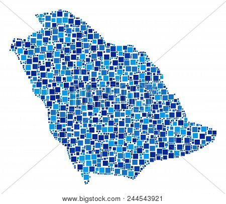 Saudi Arabia Map Collage Of Random Dots In Variable Sizes And Blue Color Hues. Vector Square Element
