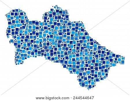 Turkmenistan Map Composition Of Scattered Dots In Various Sizes And Blue Color Tones. Vector Square