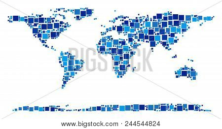 World Continent Map Mosaic Of Randomized Square Elements In Variable Sizes And Blue Color Tones. Vec