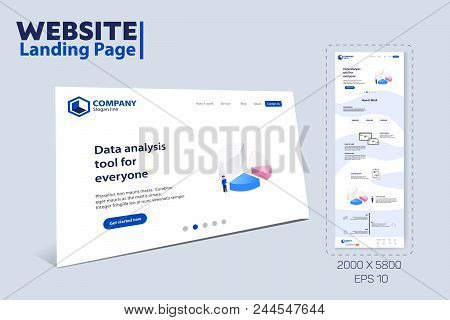 Landing Page Website Theme Vector Template Design