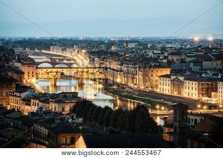 poster of Florence Ponte Vecchio Bridge and City Skyline in Italy. Florence is capital city of the Tuscany region of central Italy. Florence was center of Italy medieval trade and wealthiest cities of past era.