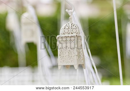 Cropped Close-up Image Of A Beautiful Decorations For Wedding Ceremony.  Preparation For Wedding Cer