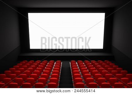 Cinema Auditorium With White Blank Screen And Red Seats. 3d Rendered Illustration.