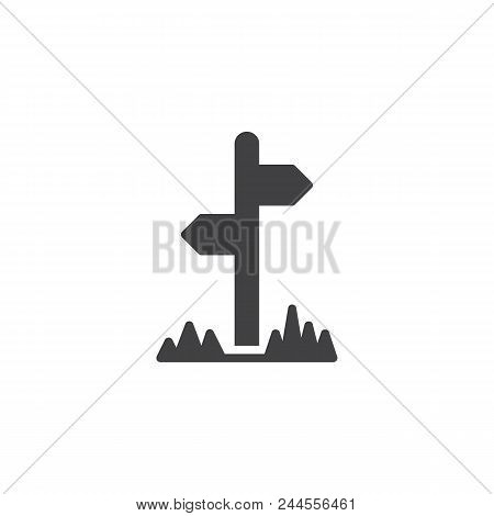 Signpost Vector Icon. Filled Flat Sign For Mobile Concept And Web Design. Guidepost Sign Simple Soli