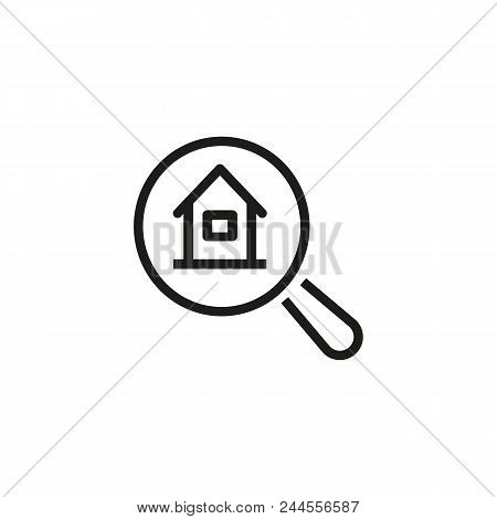 House Searching Line Icon. Magnifying Glass, Identification, Building. Real Estate App Concept. Vect