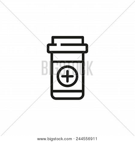 Painkiller In Pill Bottle Line Icon. Cross, Prescription, Container. Pharmacy Concept. Vector Illust