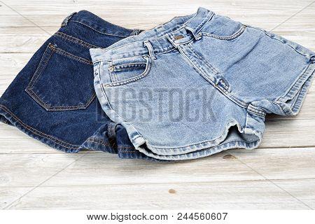 Two Vintage Woman Jeans Denim Shorts
