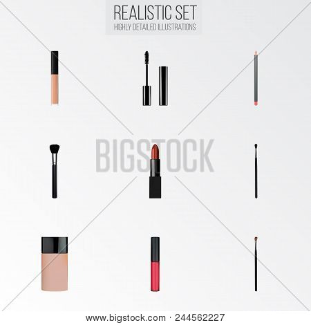 Set Of Greasepaint Realistic Symbols With Pomade, Brow Makeup Tool, Mascara And Other Icons For Your