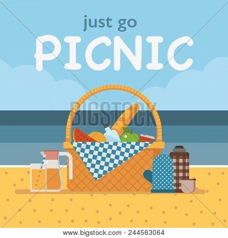 Summer beach picnic vector photo free trial bigstock summer beach picnic card with straw picnic basket with cloth beach family party invitation stopboris Choice Image