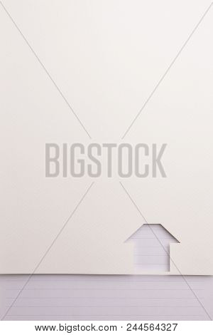Background Of White Paper Cutout In Simple House Shape Border By Blue Line Notepaper, For Home And I