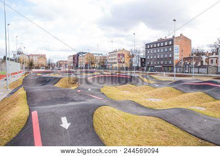 Latvia, City Riga, Bmx Ans Kate Pleyground At City Center. Streets 2018 Travel Photo.