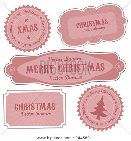 Christmas Vector Retro Design Labels