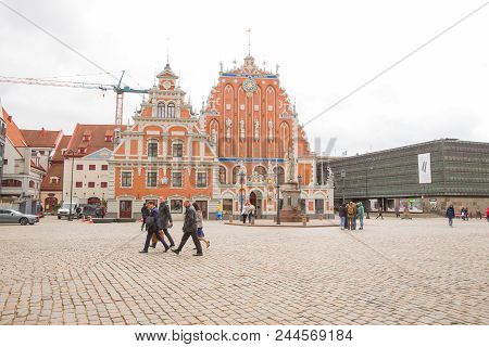 Latvia, City Riga, Old Town Center, Peoples And Architecture. Art Nouveau. Streets 2018