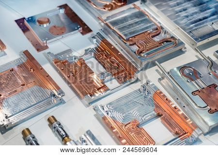 Aluminum-copper Heat Sink Plates For Industrial Electronics. Equipment For Cooling Electronic Compon