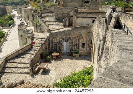 European Capital Of Culturein 2019 Year, Panoramic View On Ancient City Of Matera, Capital Of Basil
