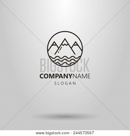 Black And White Simple Vector Line Art  Logo Of Mountains And Pond Water Waves In A Round Frame