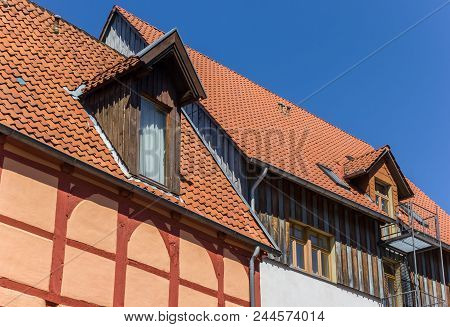 Half Timbered Houses In Historic Spa Town Bad Salzuflen, Germany