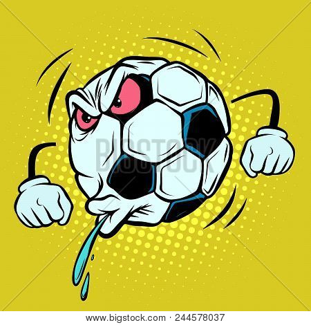 Spitting, Fan Reaction. Football Soccer Ball. Funny Character Emoticon Sticker. Sport World Champion