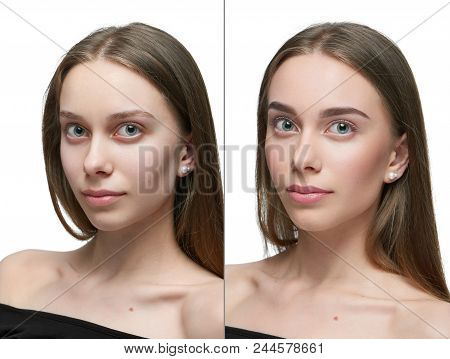 Frontview Comparison Of One Girl Before And After Make Up. Left Pert - Looking At Camera Girl Withou