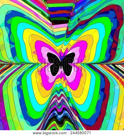 Abstract Colored Background Image Of Butterfly Consisting Of Lines