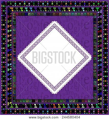 Abstract Colored Background Image Of Frame Consisting Of Lines And Figures Whit White Napkin
