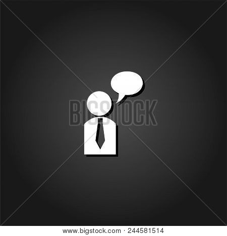 Dialog Icon Flat. Simple White Pictogram On Black Background With Shadow. Vector Illustration Symbol