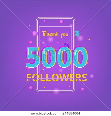 5000 Followers Thank You Phrase With Random Items. Template For Social Media Post.  Ultra Violet Pal