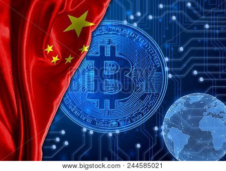 Flag Of China Is Shown Against The Background Of Crypto Currency Bitcoin. Global World Crypto Curren
