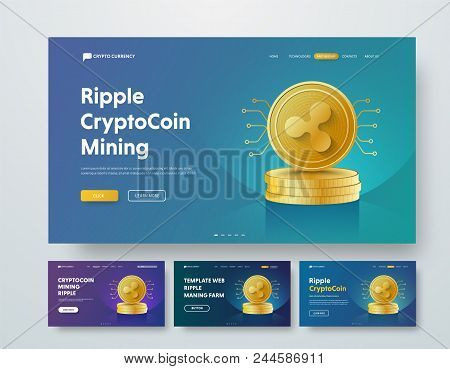 Template Header With Gold Piles Of Coins Ripple And Elements Of Microcircuits. Web Banner Design Wit