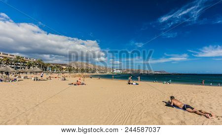 Famous Beaches Of Tenerife, Playa Las Americas And Playas Del Camison On Sunny Day.