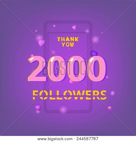 2000 Followers Thank You Phrase With Random Items. Template For Social Media Post. Glitch Chromatic