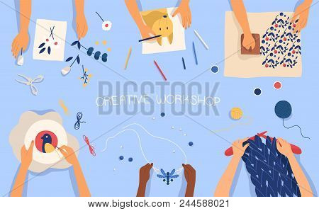 Horizontal Banner With Hands Creating Handmade Works - Drawing, Woodblock Printing, Beadwork, Embroi