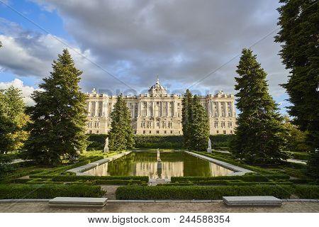 North Facade Of Royal Palace Of Madrid (palacio Real) At Sunset. View From Jardines De Sabatini Gard