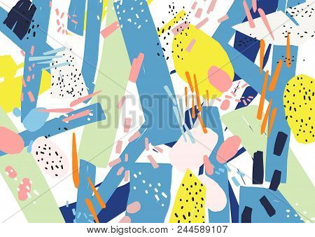 Creative Horizontal Artistic Backdrop With Abstract Shapes, Patches And Speckles Of Vivid Colors On
