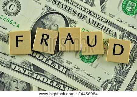 Word fraud in lettern on background of dollar banknotes poster
