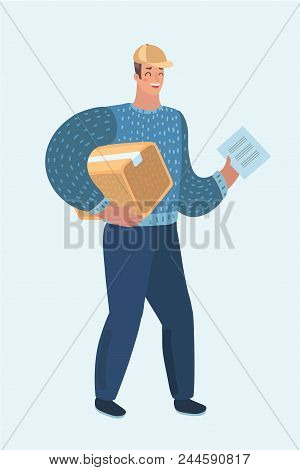 Vector Cartoon Illustration Of Delivery Man, Guy With Cardboard Box. Postman In Cap Isolated On Whit