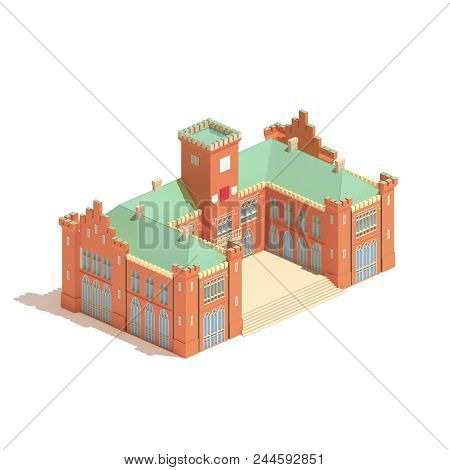 Flat 3d Model Isometric Castle Or University Building  Illustration Isolated On White Background.