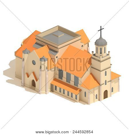 Isometric Christian Church 3d Model Icon Or Cathedral Building Isolated On White Background