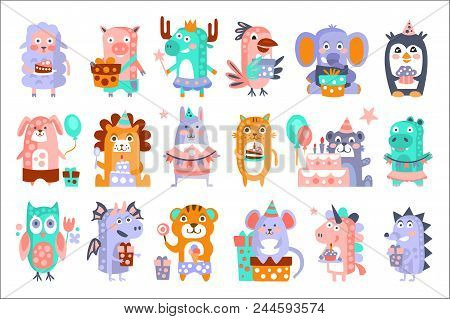 Stylized Funky Animals Birthday Party Sticker Set. Stylized Colorful Flat Vector Illustrations For K