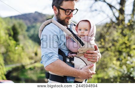 A Father With His Toddler Daughter In A Baby Carrier Outside On A Spring Walk. Copy Space.