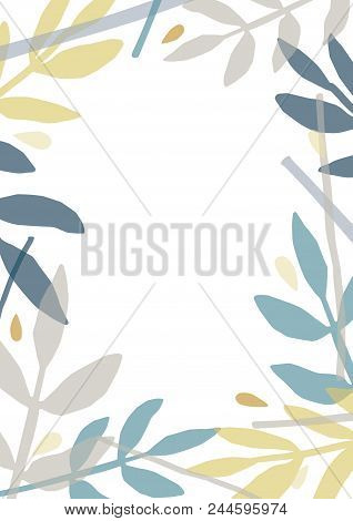 Creative Backdrop With Frame Or Border Made Of Colorful Translucent Foliage Of Forest Trees And Plan
